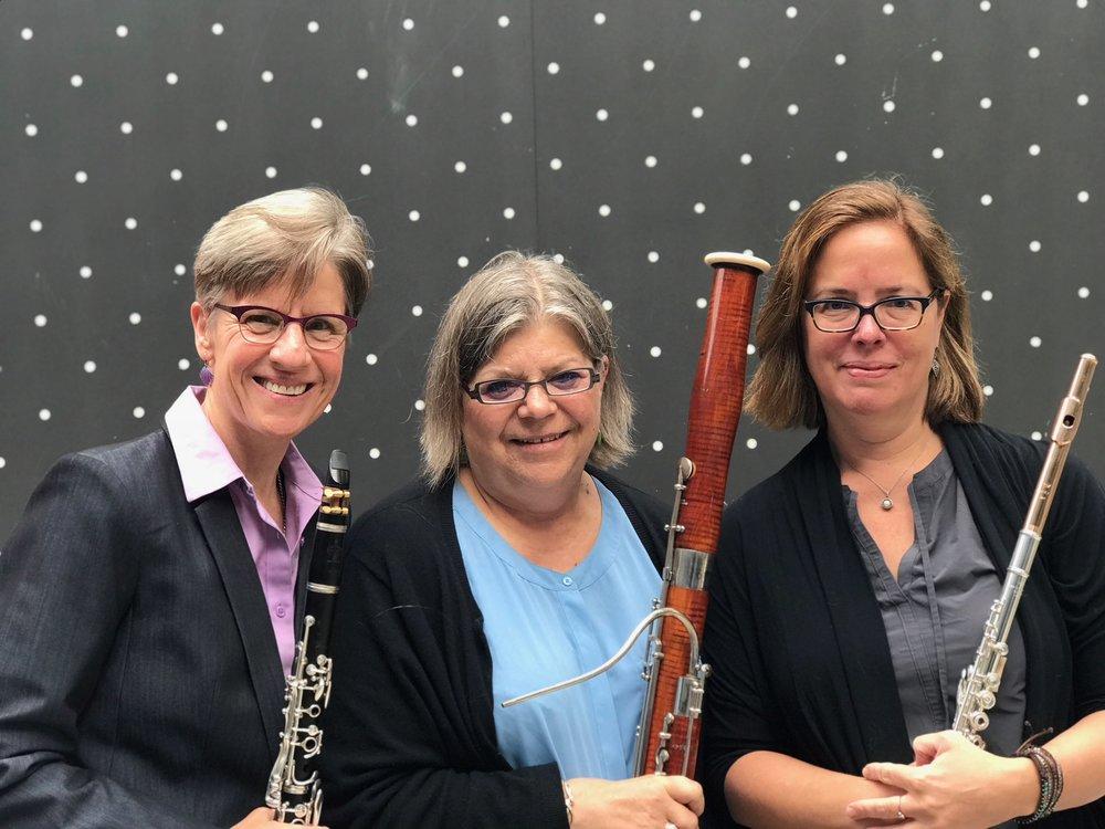 Jennifer Nelson, Clarinet; Francine Peterson, Bassoon; Wendy Wilhelmi, Flute