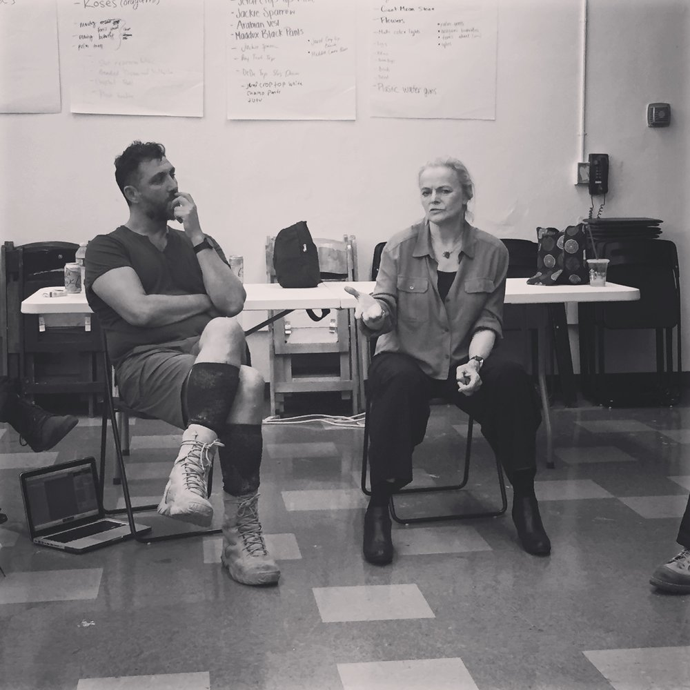 "In rehearsal with director John Farmanesh-Bocca and ""Ajax"" playwright, Ellen McLaughlin"