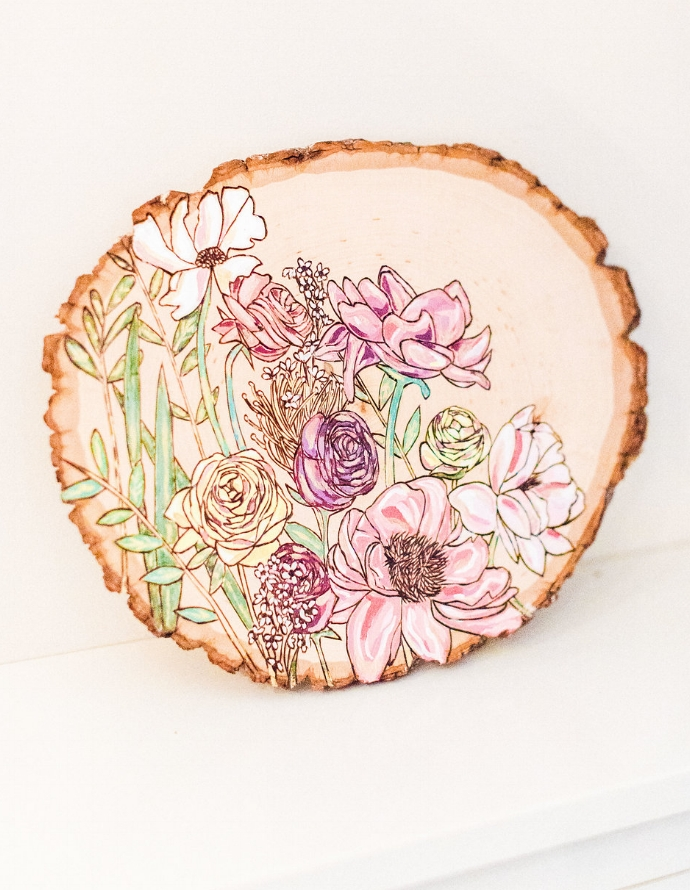 Wood burned and painted bouquet by Amanda Stores