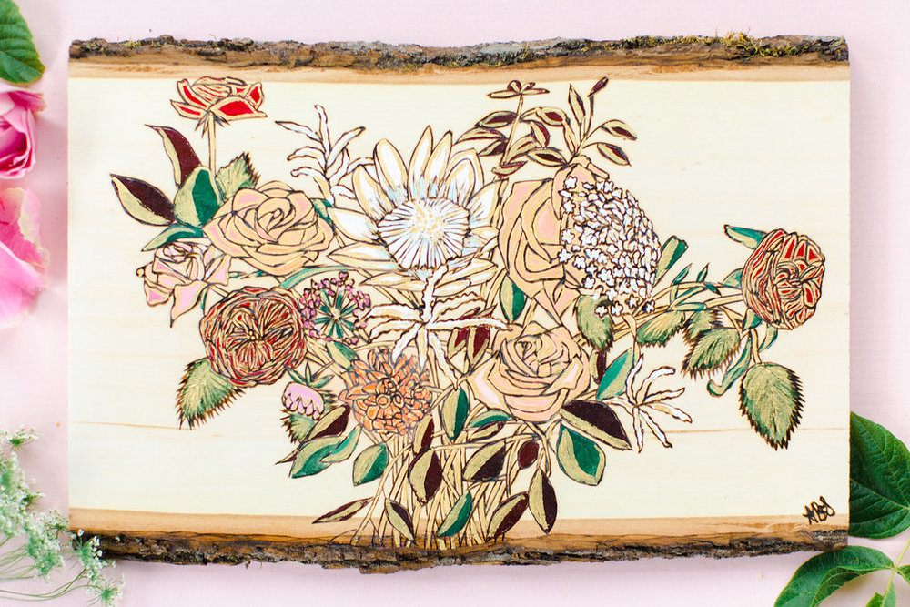 woodburned-and-painted-flower-bouquet