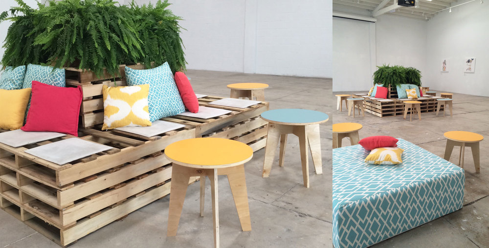 Ronen Rental - wood pallet lounge