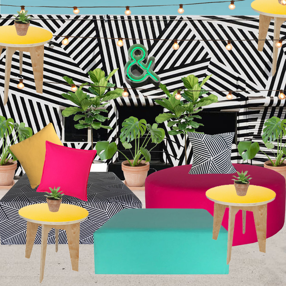 Featured in this collage:   The Wynwood Building   Market lights by  Illumene  / Plant rentals by  Roses et Pivoines