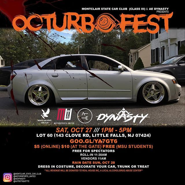 Booooooo 👻, It's the season‼️ @aedynasty x @montclair_state_car_club Presents OcturboFest. A trunk or treat Halloween party car meet 🎃🎃🎃🔥🔥🔥😈. 100% of proceeds will be donated to Real House Inc, an organization in Montclair, NJ that provides temporary homeless housing & treatment for substance abuse. #GearheadsGiveBack 🙏🏼. EVENT LINK IN BIO‼️ ➖➖➖➖➖➖➖➖➖➖➖➖➖➖➖➖➖ #autoetiquette #Dynastycrew #staticstruggle #DrivenByUnity #Cambergang #StaynMoist #Slammed #stancenation #foreverslammed #formativefitment #canibeat #freshmeet #VorgedSociety #ProperFitment #SuperStreet #ImportTuner #SpeedHunters #StanceNation #StanceWorks #LoweredLifestyle #ModifiedSociety #Dapper #LoweredStandards #Stance_Daily #Follow #StancedShots