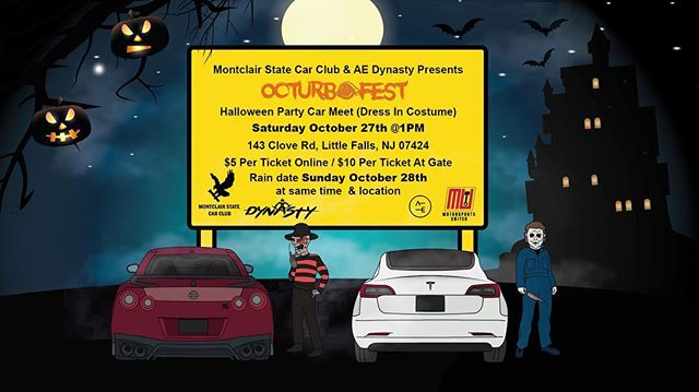 Michael Myers & Freddy Krueger have decided to join the party 🔪🔪🔪😵😵😵😵😱😈‼️ @aedynasty x @montclair_state_car_club Presents OcturboFest. A trunk or treat Halloween party car meet 🎃🎃🎃🔥🔥🔥😈. 100% of proceeds will be donated to Real House Inc, an organization in Montclair, NJ that provides temporary homeless housing & treatment for substance abuse. Event link in bio. #GearheadsGiveBack 🙏🏼. #Halloween #NightmareOnElmStreet #CarMeet #HalloweenParty
