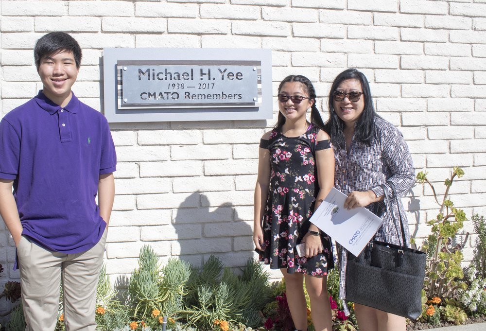 Michael H. Yee dedication ceremony. Mike was our museum founder whose insights, energy and commitment lit a fire in many of us to support CMATO. Melodee, Matthew and Devin Yee (Halm) pictured above.