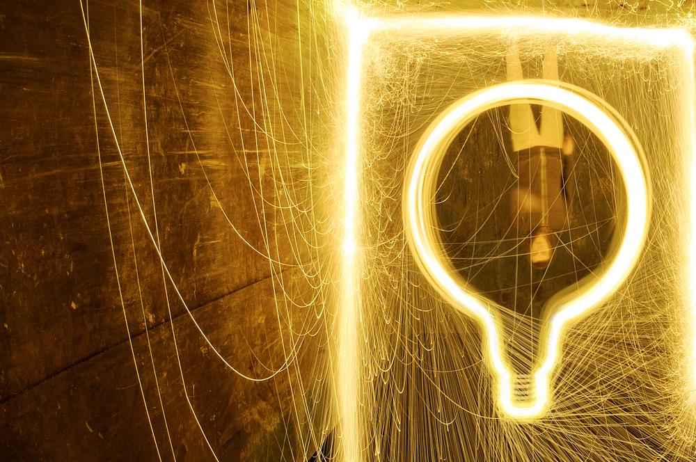 Steel wool in the shape of a lightbulb