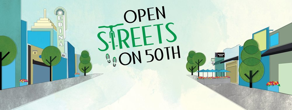 Logo of Open Streets on 50th event.
