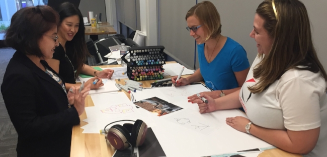 Kate, Tiffany, Steffi and Katarina brainstormin' in the design lab!