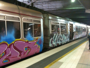 Brisbane trains as art canvas after the 2011 floods.