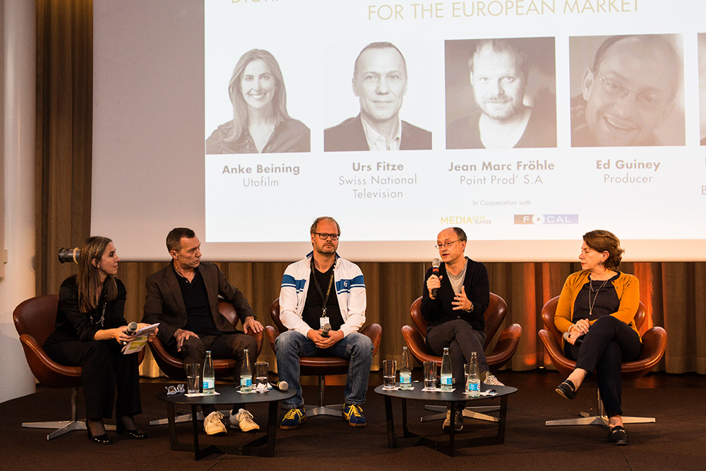 Anke Beining (Utofilm), Urs Fitze (SRF), Jean-Marc Fröhle (Point Prod'), Ed Guiney, Kirsten Niehuus (Medienboard Berlin-Brandenburg) (f.l.t.r.) From Producers to Producers: Digital Distribution and New Finance Opportunities for the European Market