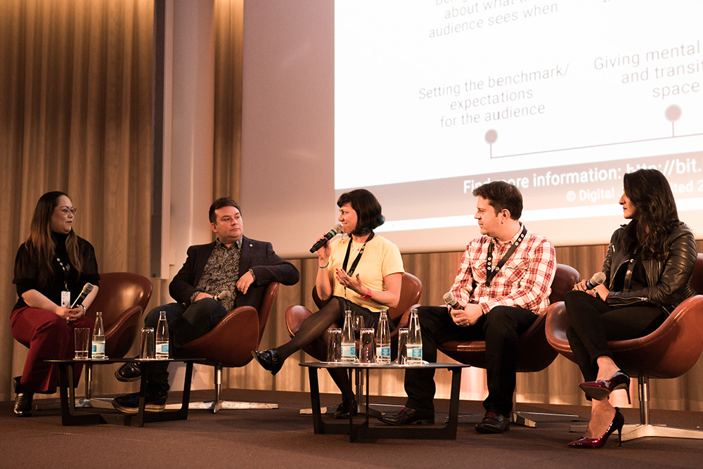 Tanya Laird (Digital Jam), Toby Coffey (National Theatre), Muki Kulhan (Muki-International), Patrick O'Luanaigh (nDreams), Resh Sidhu (Framestore) (f.l.t.r.) The Future of Immersive Storytelling