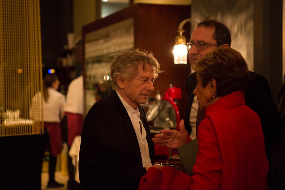 Roman Polanski, Michael Barker, Beki Probst (f.l.t.r.) Zurich Summit Dinner, Restaurant Terrasse