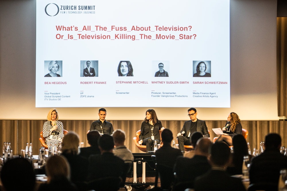 What Is All The Fuss About Television? Or Is Television Killing The Movie Star? Bea Hegedus (ITV Studios Germany), Robert Franke (ZDFE.drama), Stéphane Mitchell (Screenwriter), Whitney Sudler-Smith (Vainglorious Productions), Sarah Schweitzman (CAA)