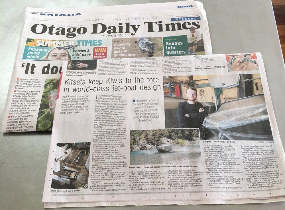 WattsCraft in the Otago Daily Times