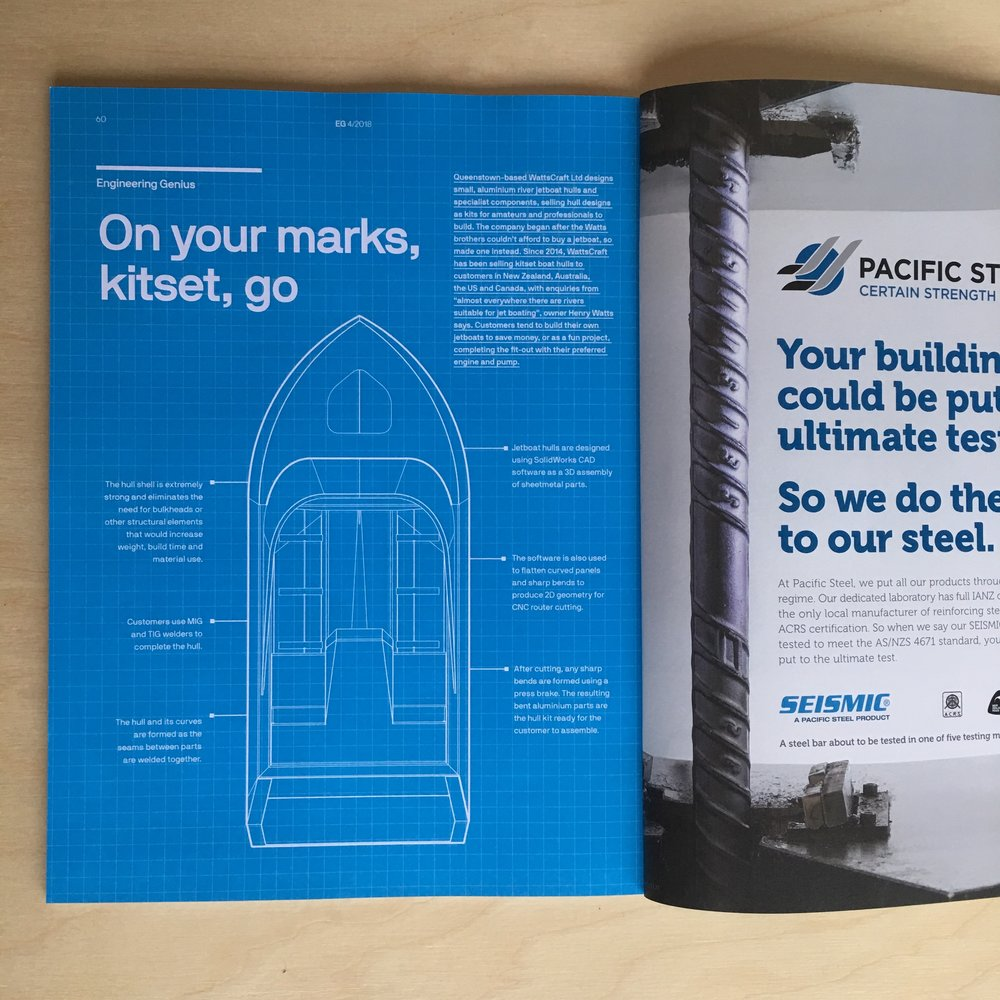 WattsCraft kit hulls features in Engineering NZ's EG Magazine