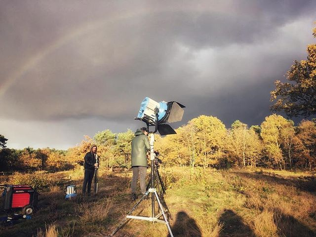 BTS @royalacademyofart.thehague  Open day campaign. Happy sunday! #kabk #thehague #arrilighting #dunes #videography #rainbow