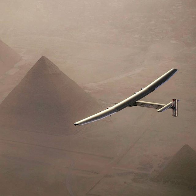 Solar Impulse II:  A great shot of the Solar Impulse II over the pyramid. This was one of many legs of the trip which spanned a total of 23 days, after more than 15 years of preparation!  #solarpower #renewableenergy #solarpanels #sustainability #greenenergy #flight