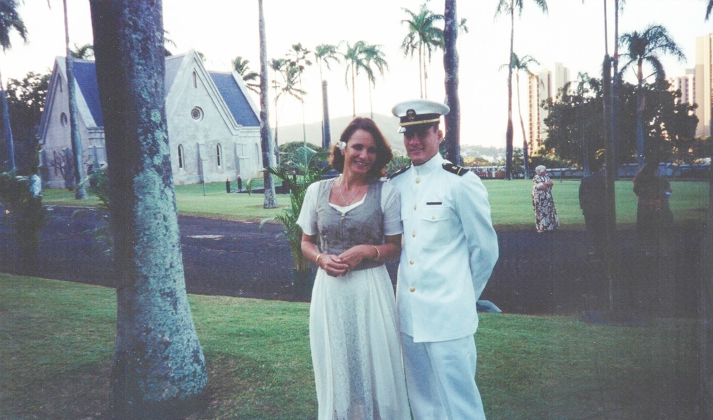 Makani with his Mother during a visit home from his sophomore year at the Naval Academy, paying respects to Kamehameha Schools in Oahu, 2001.