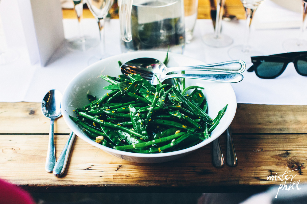 French beans, mange tout, hazelnuts & orange salad