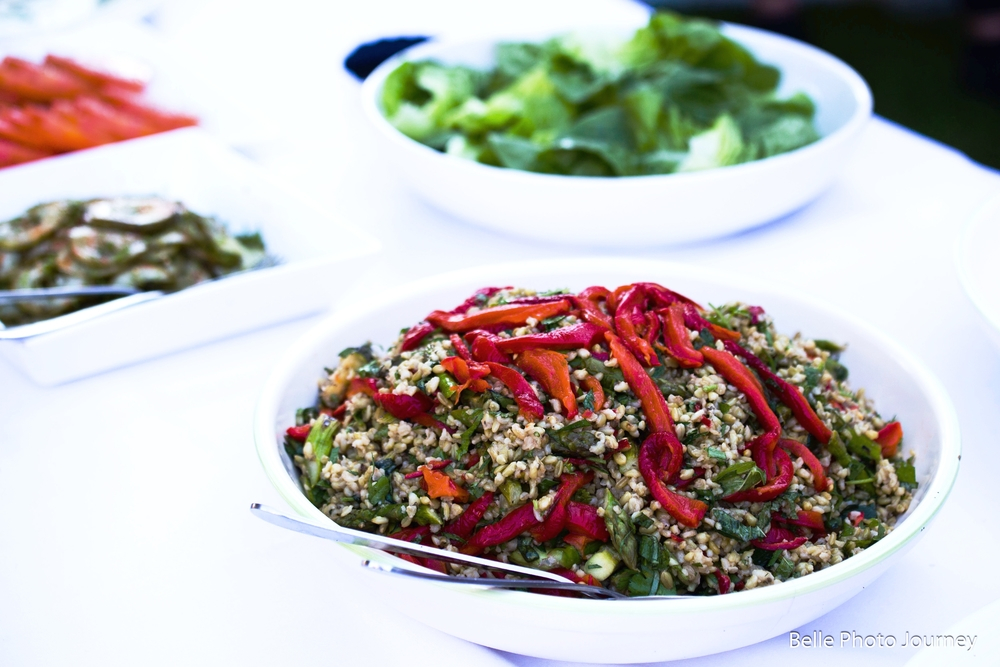 Freekeh with BBQ summer vegetables& mixed herbs
