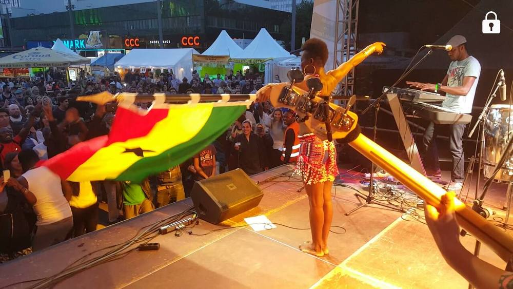 Wiyaala on stage in Berlin, Germany