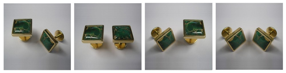 Gold Cuff Links set with rare Australian Variscite commisioned by Rio Tinto presented to the Chinese President Hu Jintao