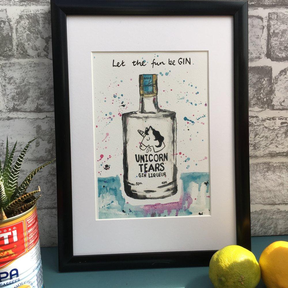 Unicorn Tears Gin Print