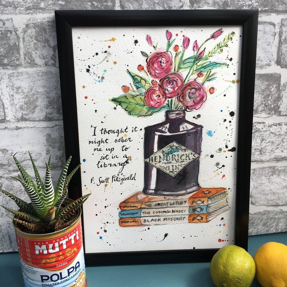 Hendrick's Gin, Flowers and Books Print