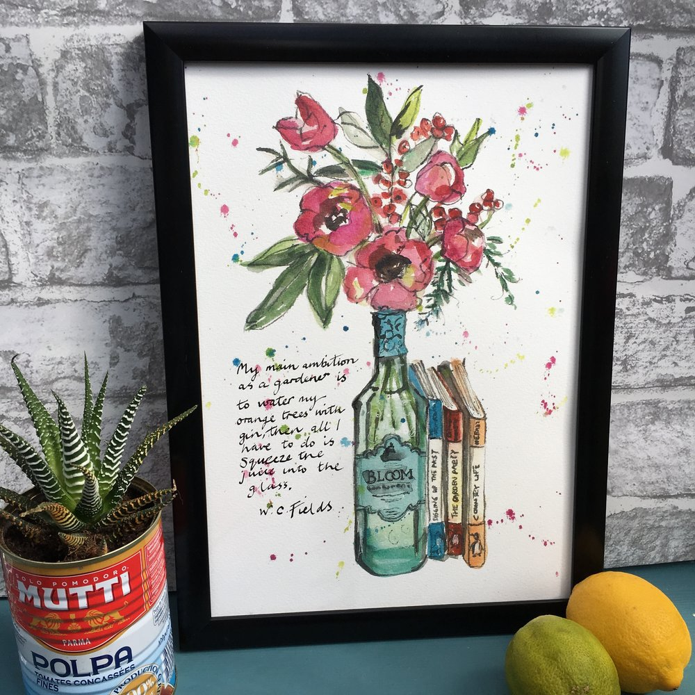 Bloom Gin, Flowers and Books Print