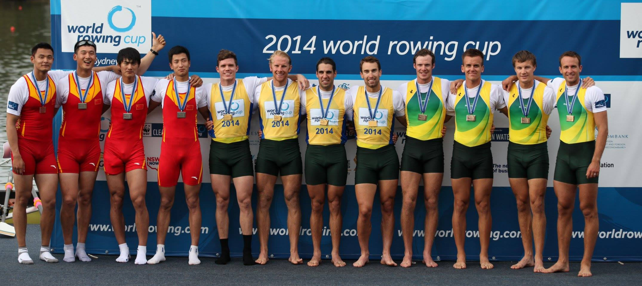 Sasha, Cam Girdelstone and Nick Hudson with John Linke - Gold in men's quad - 2014 World Cup 1