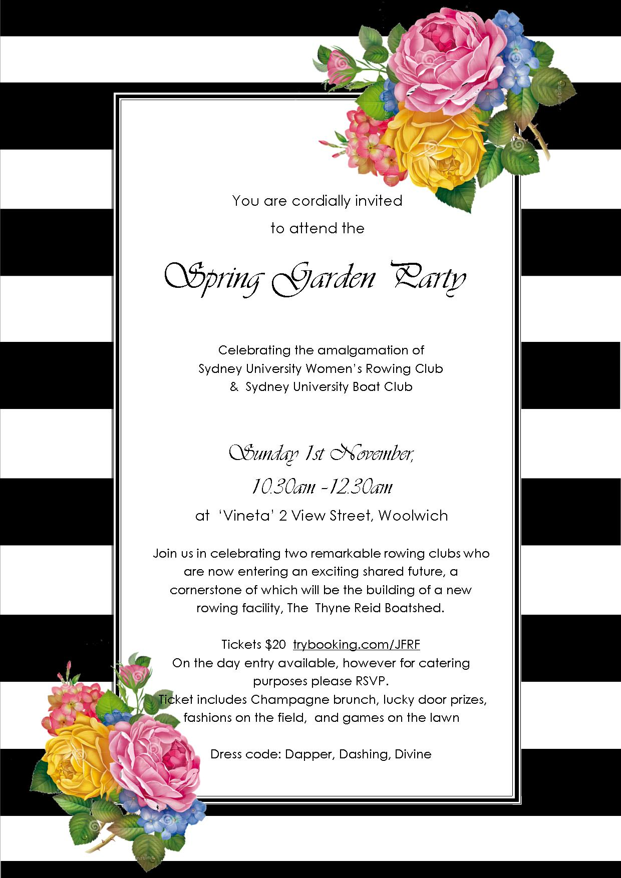 Spring Garden Party Invitation and Ticket info