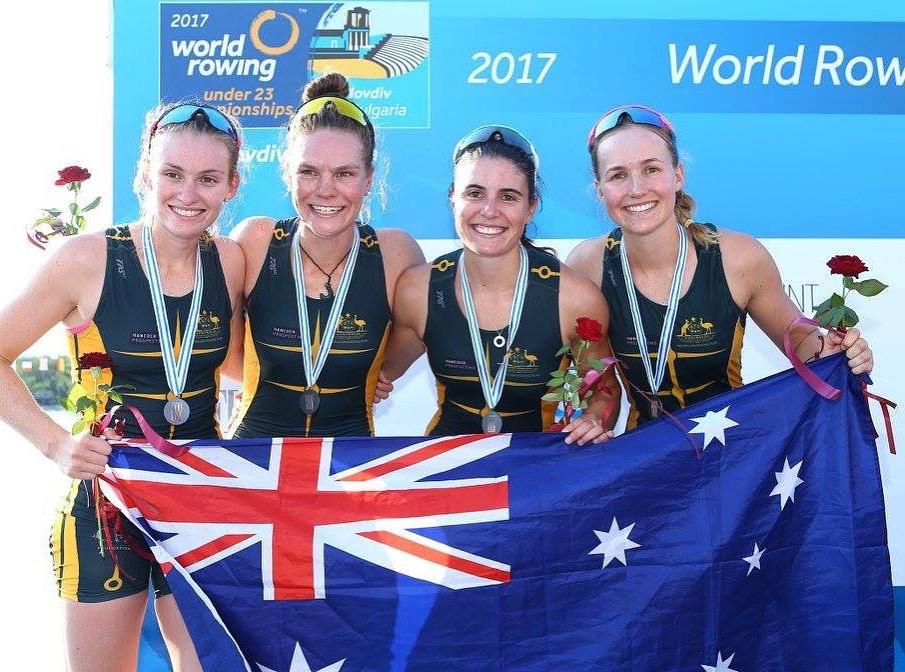 Aus 2017 U23 Women's Quad - silver medallists - including Gen Horton and Rowena Meredith of SUBC. 2017 World Championships.