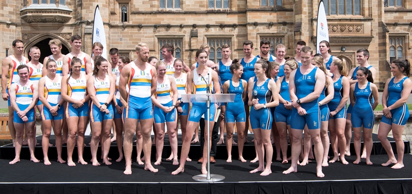 Before the race crew captains issue the traditional challenge - at the 2016 race on the lawns of Sydney University