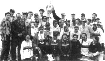 The 1993 Sydney University team at Wellington Dam, W.A                 with the Oxford and Cambridge Cup