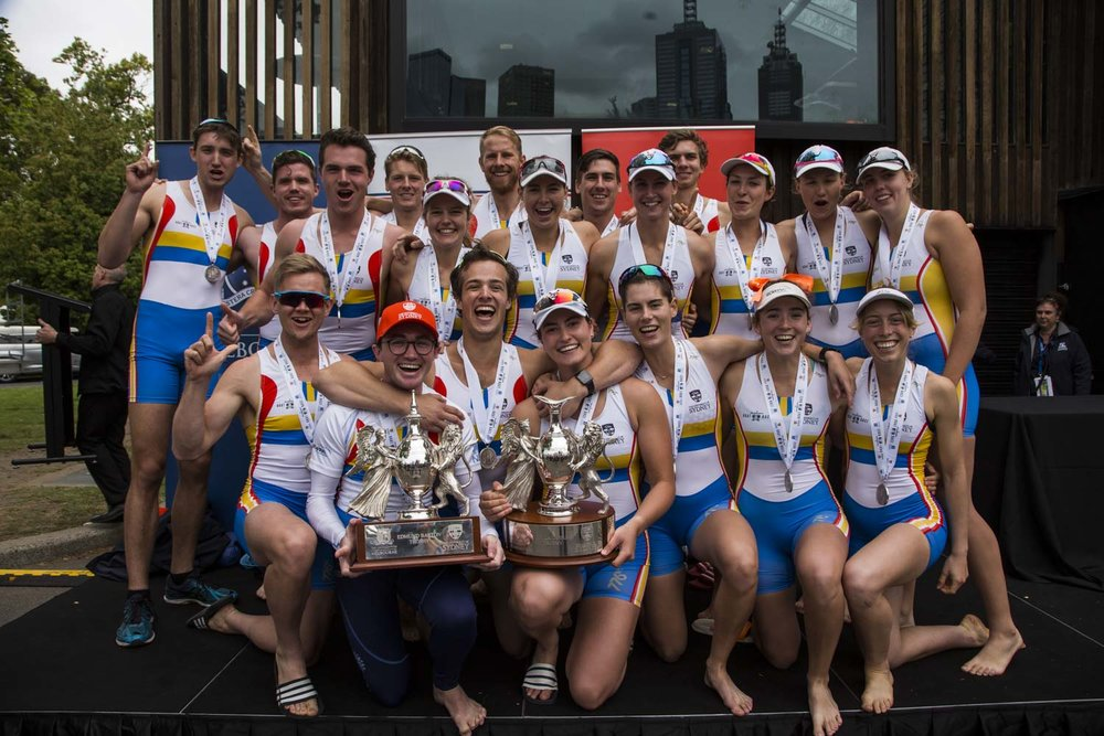 Asu Boat Race 2018 Podium SUBC men and Women Winners.jpg