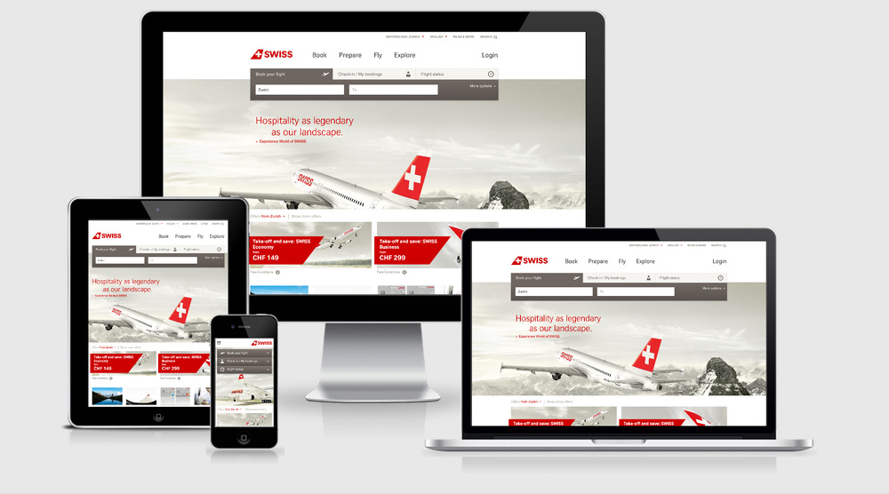 Examples of Personal Branding Web Design -  Swiss Air