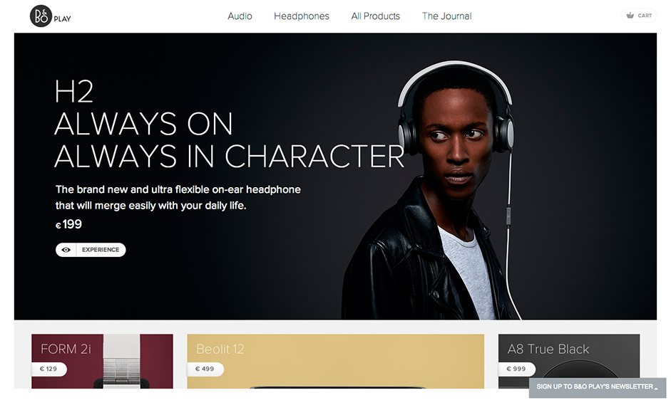 Examples of Flat Web Design -   B&O Play