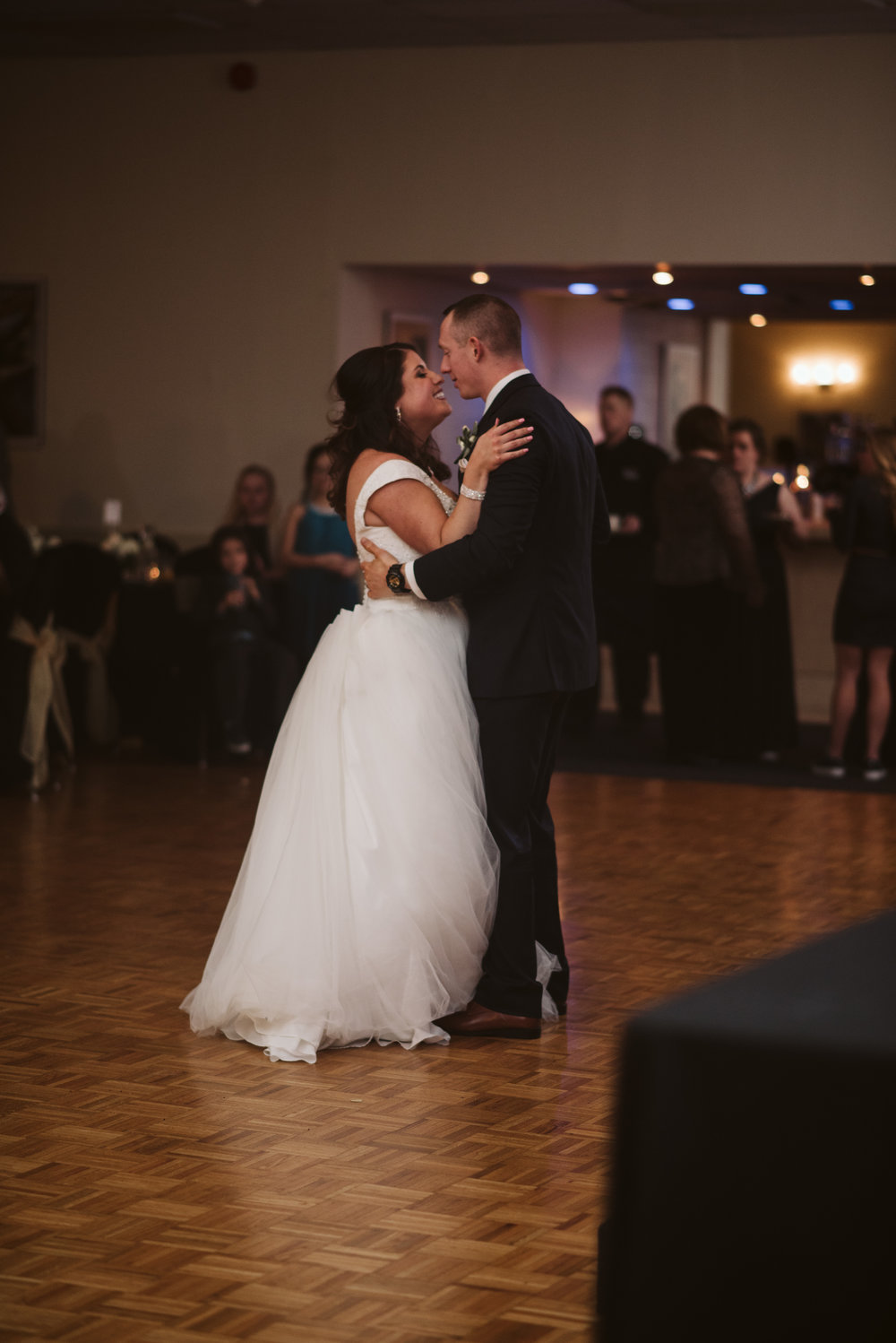 Bride and groom dancing during first dance
