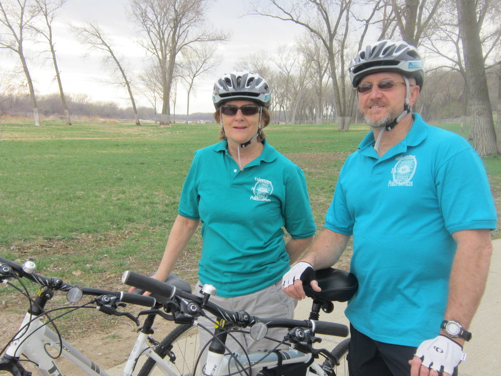 Julie and Ron, volunteer Trailblazers, on the bike trail