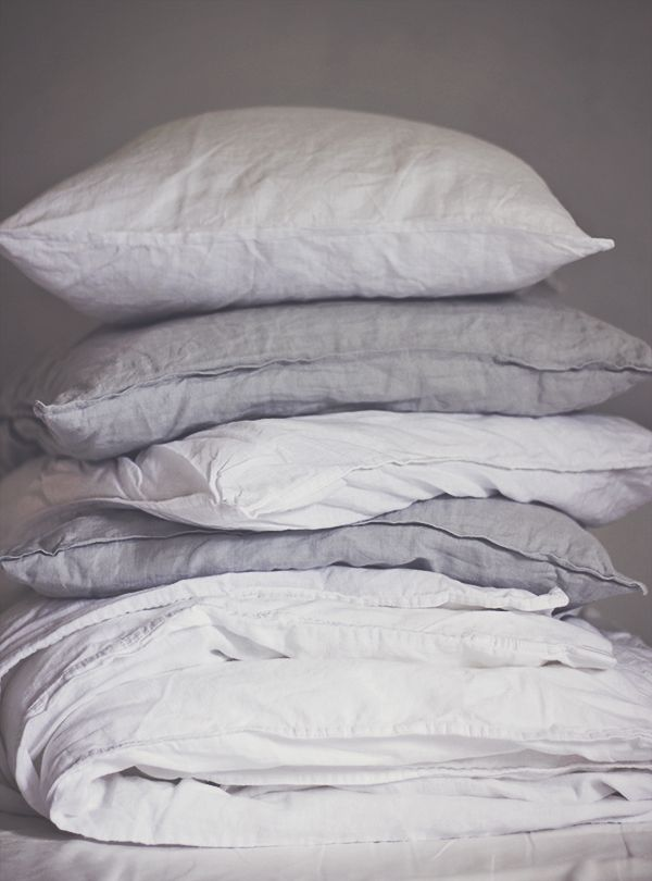 bedlinen, grey, white