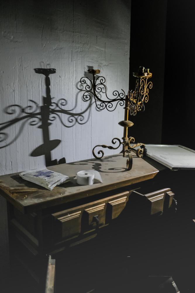 Forgotten chandelier, corridor.