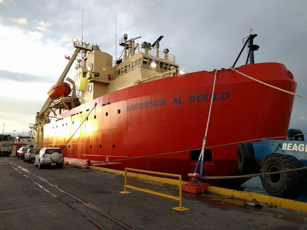 The  R/V Laurence M Gould   in port in Punta Arenas.