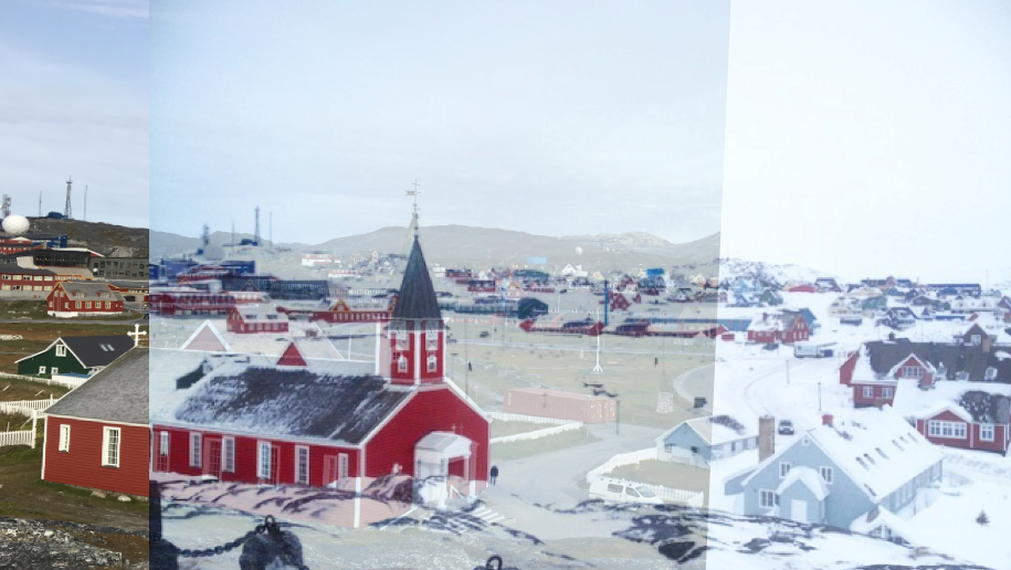 A less-than-perfect mash up of a picture I took in Nuuk yesterday (left, no snow) and in March of 2015 (right, with snow).
