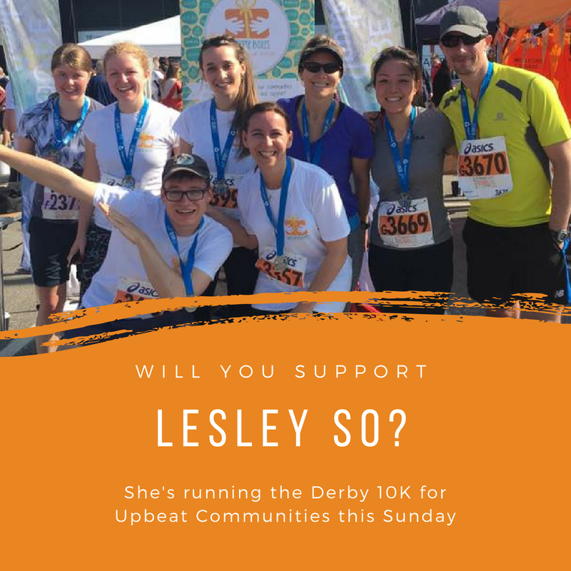"Lesley So is raising money to ""help refugees integrate into their new environment"". She ran the race last year and is hoping to beat her time on Sunday!  justgiving.com/fundraising/lesley-so1"