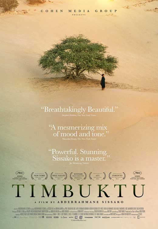 Timbuktu - The clue is in the title. The beautiful scenery is in stark contrast with the brutal oppressive religious rules that the people are forced to live under in Mali. The dignity of the people, beautiful music, and bizarre scenes (such as two teams playing a football match without a ball) serve to make the situation even more desperate.