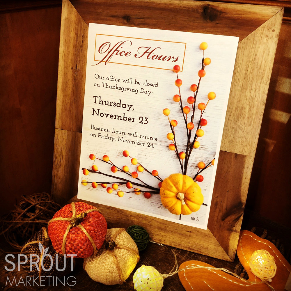 Apartment Office Closure Sign Thanksgiving Day
