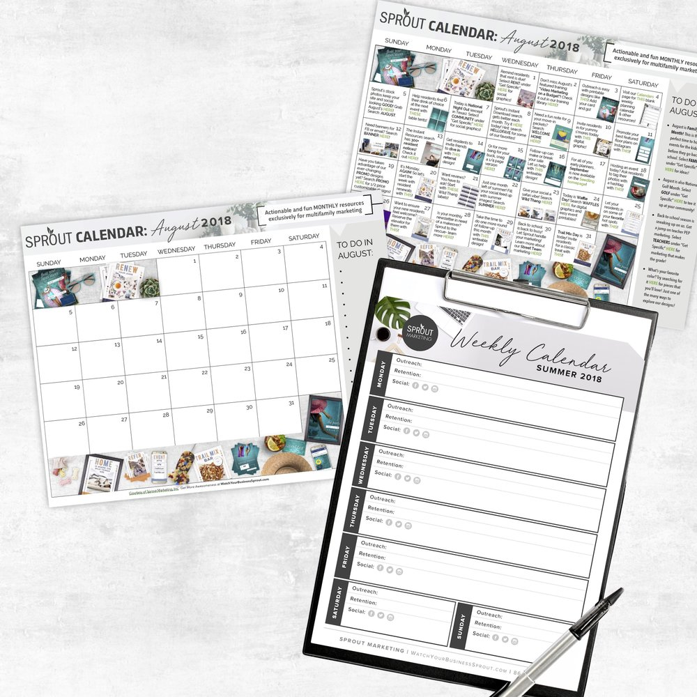 YOUR CALENDAR KIT  - PLAN YOUR ENTIRE MONTH OF OUTREACH AND RETENTION WITH YOUR KIT