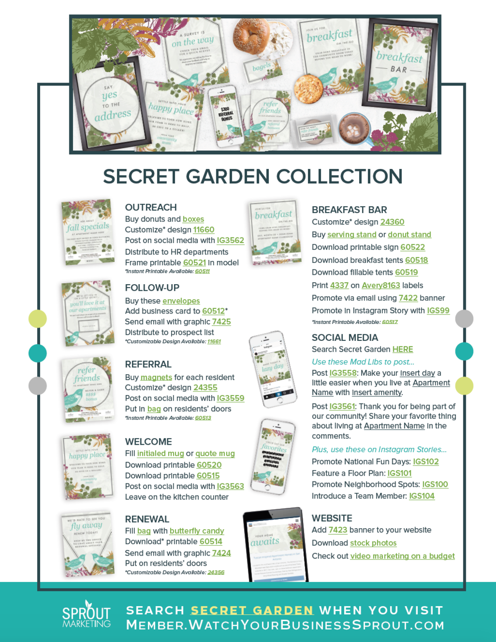 Collection Guides - Love one of the collections we're featuring this month and want to make it a full-circle campaign? We've got you covered.Follow the detailed step-by-step plan.No detail overlooked.-Outreach -Follow- Up -Referral -Welcome -Renewal-Event-Social Media -Website