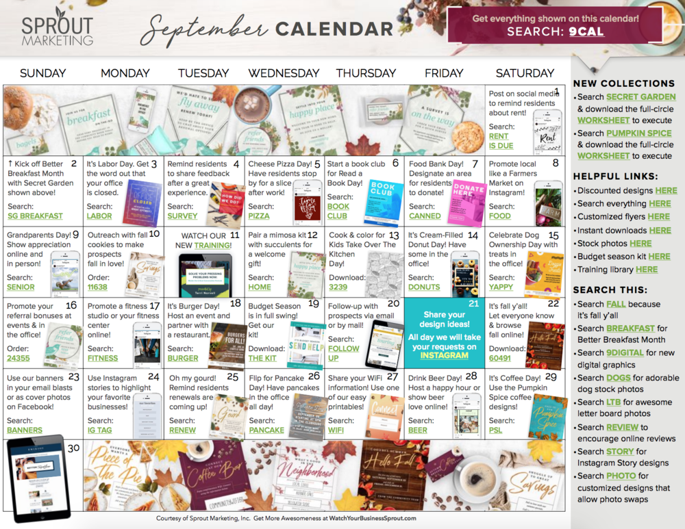 Your MonthlyMarketing Calendar - No more having to come up with what to do for marketing, retention or social media each month. Follow our monthly marketing plan (with links to resources shown) and cover all of the essentials every month.Some plans just give you the ideas. We give you ideas, PLUS everything you need to make it happen.