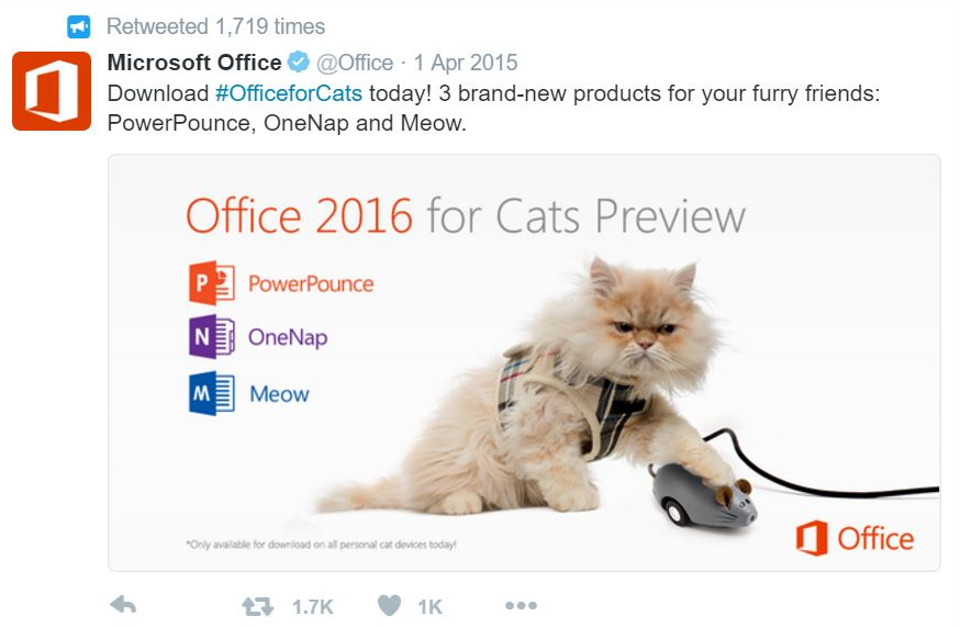 "Our ""Office for Cats"" April Fools' joke."